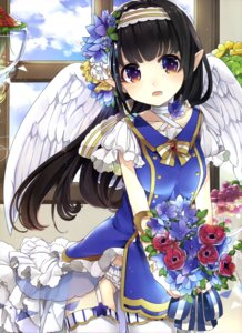 Rating: Safe Score: 45 Tags: blue_kakkoneko dress pantsu pointy_ears see_through stockings thighhighs wings User: drop