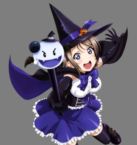 Rating: Safe Score: 16 Tags: halloween hirayama_madoka love_live!_sunshine!! thighhighs transparent_png watanabe_you witch User: Mekdra