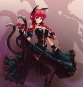 Rating: Safe Score: 69 Tags: animal_ears cleavage dress erect_nipples hater_(artist) kaenbyou_rin nekomimi no_bra pointy_ears skirt_lift stockings tail thighhighs touhou User: Mr_GT