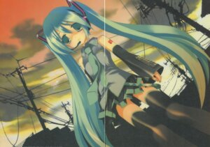 Rating: Questionable Score: 12 Tags: hatsune_miku kyougetsutei miyashita_miki paper_texture thighhighs vocaloid User: crim