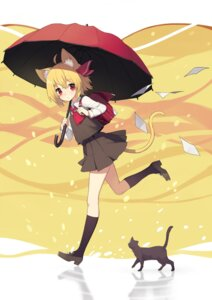 Rating: Safe Score: 23 Tags: animal_ears heels neko nekomimi rumia seifuku sh tail touhou umbrella User: RyuZU
