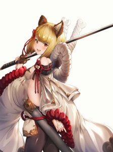 Rating: Questionable Score: 15 Tags: animal_ears granblue_fantasy no_bra ohihil pantyhose see_through sword vajra_(granblue_fantasy) User: Dreista