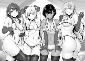 Rating: Questionable Score: 49 Tags: ass bikini breast_hold gentsuki monochrome panty_pull swimsuits tan_lines thighhighs thong undressing User: Dreista