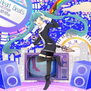 Rating: Safe Score: 18 Tags: hatsune_miku headphones komine thighhighs vocaloid User: Nekotsúh