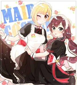Rating: Safe Score: 13 Tags: ichinose_shiki maid miyamoto_frederica skirt_lift the_idolm@ster the_idolm@ster_cinderella_girls tomato_omurice_melon User: animeprincess