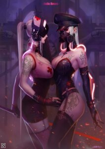 Rating: Questionable Score: 59 Tags: cleavage fishnets headphones nurse stockings sword tattoo thighhighs xiaoguimist User: Mr_GT