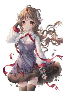 Rating: Safe Score: 15 Tags: albinoraccoon animal_ears arknights dress eyjafjalla_(arknights) horns skirt_lift thighhighs torn_clothes User: Arsy
