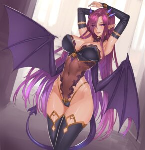 Rating: Questionable Score: 85 Tags: cleavage damegane erect_nipples leotard pantsu pointy_ears tail thighhighs wings User: Brufh