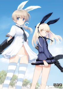 Rating: Safe Score: 45 Tags: animal_ears ass bunny_ears dress gun lynette_bishop megane pantsu perrine-h_clostermann shimada_humikane strike_witches thighhighs User: Radioactive