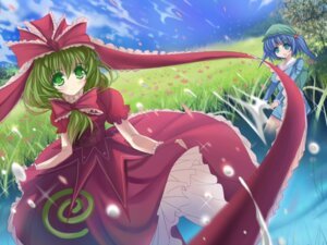 Rating: Safe Score: 9 Tags: kagiyama_hina kawashiro_nitori marionette_(excle) touhou wallpaper User: hobbito