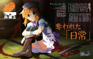 Rating: Questionable Score: 13 Tags: blood dress higurashi_no_naku_koro_ni mizukami_rondo ryuuguu_rena skirt_lift thighhighs weapon User: drop