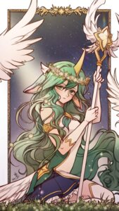 Rating: Safe Score: 24 Tags: animal_ears horns league_of_legends seo-love soraka thighhighs weapon wings User: charunetra