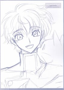 Rating: Safe Score: 4 Tags: arthur_(code_geass) code_geass kururugi_suzaku male monochrome ochiai_hitomi sketch User: Radioactive
