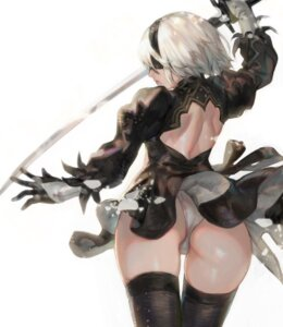 Rating: Questionable Score: 41 Tags: aoin ass dress nier_automata pantsu sword thighhighs yorha_no.2_type_b User: Undead-Kun