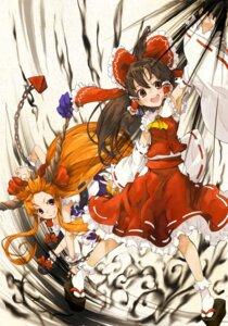 Rating: Safe Score: 16 Tags: hakurei_reimu ibuki_suika shinamamasan touhou User: itsu-chan
