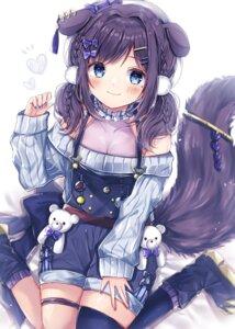 Rating: Safe Score: 18 Tags: aiba_uiha animal_ears cleavage garter nijisanji overalls see_through sorashima_(117) tail thighhighs User: leotard