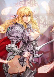 Rating: Questionable Score: 31 Tags: armor ass bottomless cleavage no_bra pointy_ears sword zzoggomini User: charunetra