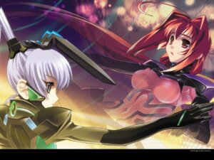 Rating: Safe Score: 33 Tags: bodysuit bou kagami_sumika muvluv muvluv_alternative wallpaper yashiro_kasumi User: noirblack