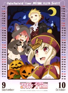Rating: Safe Score: 36 Tags: calendar cleavage fate/kaleid_liner_prisma_illya fate/stay_night gilgamesh_(fate/prisma_illya) halloween illyasviel_von_einzbern pantsu tanaka_(fate/prisma_illya) User: drop