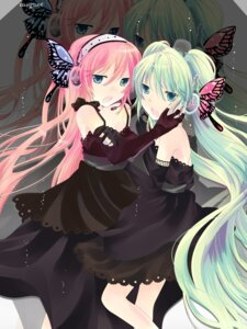 Rating: Safe Score: 14 Tags: 0519 dress hatsune_miku magnet_(vocaloid) megurine_luka vocaloid User: yumichi-sama