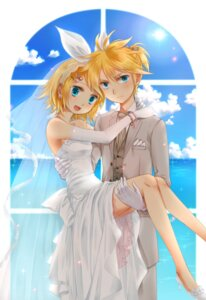 Rating: Safe Score: 16 Tags: dress kagamine_len kagamine_rin okitsune vocaloid wedding_dress User: charunetra
