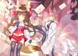 Rating: Safe Score: 32 Tags: animal_ears kitsune megane saichuu seifuku tail thighhighs User: Mr_GT