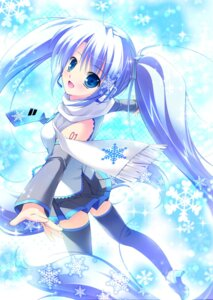 Rating: Safe Score: 54 Tags: hatsune_miku mikeou thighhighs vocaloid yuki_miku User: fireattack