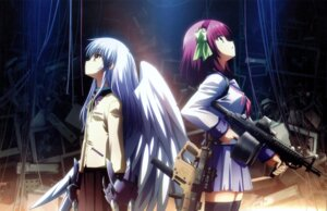 Rating: Safe Score: 70 Tags: angel_beats! detexted gun hirata_katsuzou overfiltered seifuku tenshi thighhighs wings yurippe User: y_smood