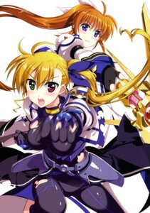 Rating: Safe Score: 20 Tags: armor bodysuit fujima_takuya heterochromia mahou_shoujo_lyrical_nanoha mahou_shoujo_lyrical_nanoha_vivid possible_duplicate takamachi_nanoha torn_clothes vivio weapon User: drop