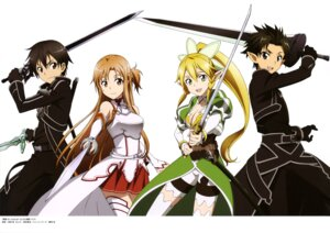 Rating: Safe Score: 35 Tags: armor asuna_(sword_art_online) cleavage habe_takashi kirito leafa pointy_ears sword sword_art_online thighhighs User: drop