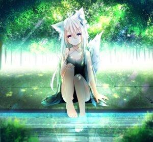 Rating: Safe Score: 28 Tags: animal_ears dress feet heterochromia jun_(sky_ia_127_snow) skirt_lift tail wet User: BattlequeenYume