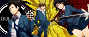 Rating: Safe Score: 2 Tags: durarara!! kanameyura kida_masaomi megane ryuugamine_mikado seifuku sonohara_anri sword User: charunetra