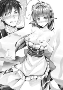 Rating: Questionable Score: 18 Tags: animal_ears breast_hold breasts kotatsu358 maid monochrome no_bra User: kiyoe