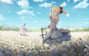 Rating: Safe Score: 24 Tags: dress fate/grand_order merlin_(fate/stay_night) pigone saber saber_lily sword thighhighs User: BattlequeenYume