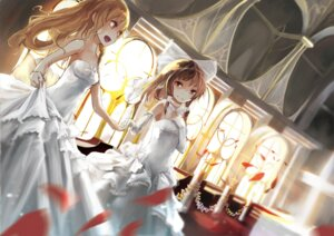 Rating: Safe Score: 48 Tags: dress gas hakurei_reimu kirisame_marisa touhou wedding_dress yuri User: zero|fade