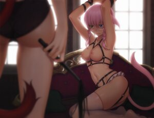 Rating: Questionable Score: 145 Tags: animal_ears ass bondage breasts eventh7 final_fantasy final_fantasy_xiv heterochromia lingerie miqo'te nekomimi nipples pantsu stockings tail thighhighs weapon User: Mr_GT