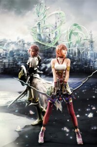 Rating: Safe Score: 50 Tags: armor cg dress final_fantasy final_fantasy_xiii final_fantasy_xiii-2 lightning serah_farron square_enix sword thighhighs User: Izuna