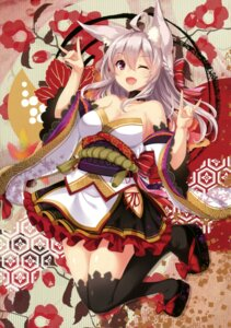 Rating: Safe Score: 59 Tags: animal_ears aoiro_clip cleavage japanese_clothes tagme takehana_note thighhighs User: Twinsenzw