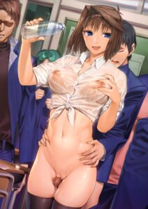 Rating: Explicit Score: 149 Tags: bottomless breast_grab censored dress_shirt erect_nipples mazaki_anzu no_bra penis pussy see_through thighhighs ts422 wet_clothes yugioh User: Mr_GT