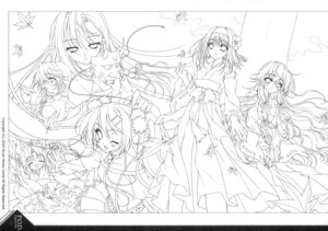 Rating: Safe Score: 8 Tags: kurenai_no_tsuki line_art miko monochrome paper_texture riv soloist User: blooregardo