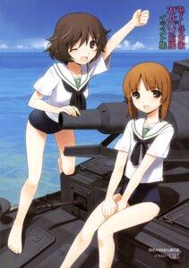 Rating: Safe Score: 20 Tags: akiyama_yukari girls_und_panzer jiji nishizumi_miho school_swimsuit seifuku swimsuits User: drop