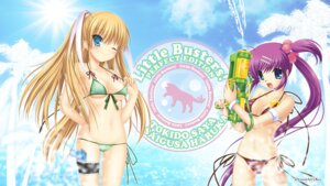 Rating: Questionable Score: 39 Tags: bikini cleavage garter hinoue_itaru key little_busters! na-ga saigusa_haruka swimsuits tokido_saya wallpaper User: girlcelly