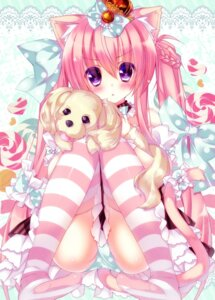 Rating: Questionable Score: 96 Tags: animal_ears lilia_chocolanne nekomimi ojitea pantsu stockings thighhighs User: blooregardo