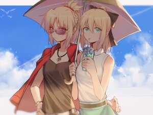 Rating: Safe Score: 32 Tags: fate/stay_night megane mordred_(fate) saber saber_lily umbrella yorukun User: mash