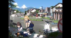 Rating: Safe Score: 31 Tags: hakurei_reimu landscape sakura_sora seifuku thighhighs touhou yakumo_yukari User: Mr_GT