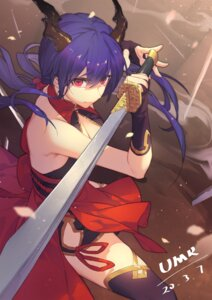 Rating: Safe Score: 22 Tags: arknights ch'en_(arknights) cleavage horns japanese_clothes sword thighhighs yumero User: Mr_GT