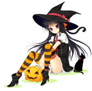 Rating: Questionable Score: 39 Tags: halloween mada_(mk333) neko pantsu shimapan thighhighs User: 椎名深夏