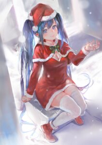 Rating: Safe Score: 36 Tags: christmas cleavage dress hatsune_miku thighhighs vocaloid zrero User: animeprincess