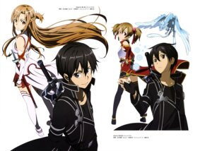 Rating: Safe Score: 23 Tags: adachi_shingo armor asuna_(sword_art_online) kirito pina silica sword sword_art_online thighhighs User: drop