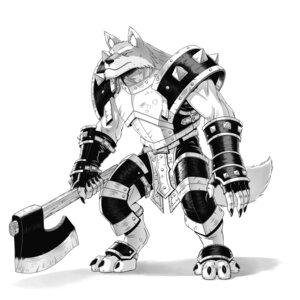 Rating: Safe Score: 4 Tags: animal_ears armor danreizer monochrome tail weapon User: koyori